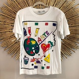White Vintage Beaded Sequin Cotton Arts TShirt